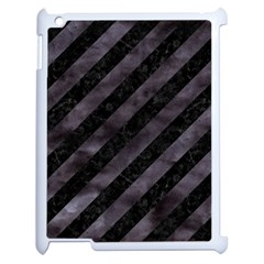 Stripes3 Black Marble & Black Watercolor Apple Ipad 2 Case (white) by trendistuff