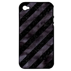 Stripes3 Black Marble & Black Watercolor Apple Iphone 4/4s Hardshell Case (pc+silicone) by trendistuff