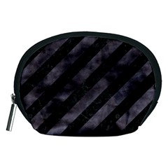 Stripes3 Black Marble & Black Watercolor Accessory Pouch (medium) by trendistuff