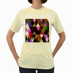 Triangles Abstract Triangle Background Pattern Women s Yellow T Shirt