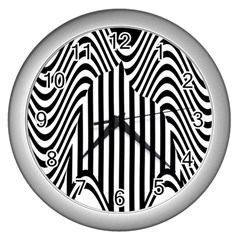 Stripe Abstract Stripped Geometric Background Wall Clocks (silver)