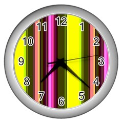 Stripes Abstract Background Pattern Wall Clocks (silver)