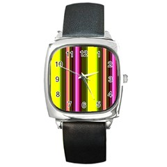 Stripes Abstract Background Pattern Square Metal Watch by Simbadda