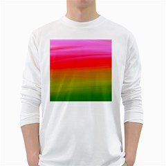 Watercolour Abstract Paint Digitally Painted Background Texture White Long Sleeve T Shirts