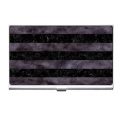 Stripes2 Black Marble & Black Watercolor Business Card Holder by trendistuff