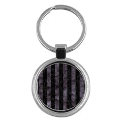 Stripes1 Black Marble & Black Watercolor Key Chain (round) by trendistuff