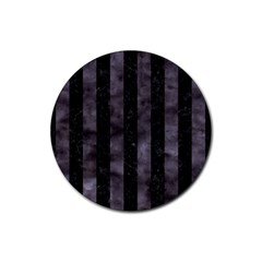 Stripes1 Black Marble & Black Watercolor Rubber Round Coaster (4 Pack) by trendistuff