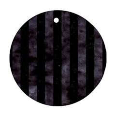 Stripes1 Black Marble & Black Watercolor Round Ornament (two Sides) by trendistuff