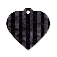 Stripes1 Black Marble & Black Watercolor Dog Tag Heart (one Side) by trendistuff