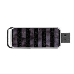 Stripes1 Black Marble & Black Watercolor Portable Usb Flash (one Side) by trendistuff