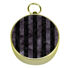 Stripes1 Black Marble & Black Watercolor Gold Compass by trendistuff