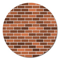 Brick Brown Line Texture Magnet 5  (round) by Mariart