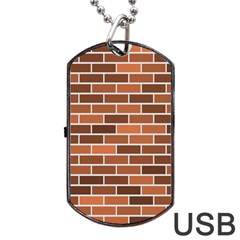 Brick Brown Line Texture Dog Tag Usb Flash (two Sides) by Mariart