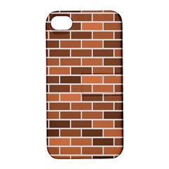 Brick Brown Line Texture Apple Iphone 4/4s Hardshell Case With Stand by Mariart