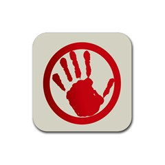 Bloody Handprint Stop Emob Sign Red Circle Rubber Coaster (square)  by Mariart