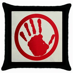 Bloody Handprint Stop Emob Sign Red Circle Throw Pillow Case (black) by Mariart