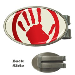Bloody Handprint Stop Emob Sign Red Circle Money Clips (oval)