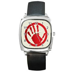 Bloody Handprint Stop Emob Sign Red Circle Square Metal Watch by Mariart