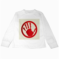 Bloody Handprint Stop Emob Sign Red Circle Kids Long Sleeve T Shirts by Mariart