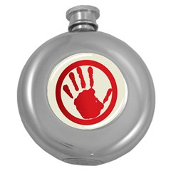 Bloody Handprint Stop Emob Sign Red Circle Round Hip Flask (5 Oz) by Mariart
