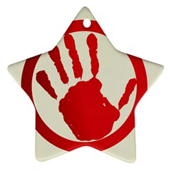 Bloody Handprint Stop Emob Sign Red Circle Star Ornament (two Sides) by Mariart