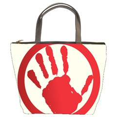 Bloody Handprint Stop Emob Sign Red Circle Bucket Bags by Mariart