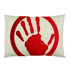 Bloody Handprint Stop Emob Sign Red Circle Pillow Case by Mariart