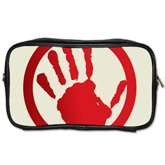 Bloody Handprint Stop Emob Sign Red Circle Toiletries Bags by Mariart