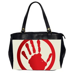 Bloody Handprint Stop Emob Sign Red Circle Office Handbags (2 Sides)  by Mariart