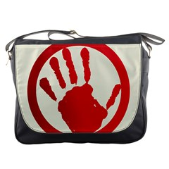 Bloody Handprint Stop Emob Sign Red Circle Messenger Bags by Mariart