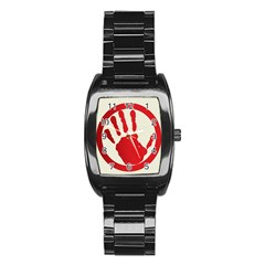 Bloody Handprint Stop Emob Sign Red Circle Stainless Steel Barrel Watch by Mariart