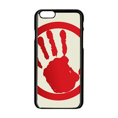 Bloody Handprint Stop Emob Sign Red Circle Apple Iphone 6/6s Black Enamel Case by Mariart