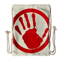 Bloody Handprint Stop Emob Sign Red Circle Drawstring Bag (large) by Mariart