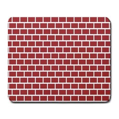Brick Line Red White Large Mousepads by Mariart