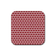 Brick Line Red White Rubber Coaster (square)  by Mariart