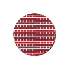 Brick Line Red White Rubber Coaster (round)  by Mariart