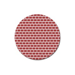 Brick Line Red White Magnet 3  (round) by Mariart