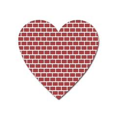 Brick Line Red White Heart Magnet by Mariart