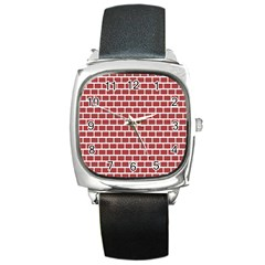 Brick Line Red White Square Metal Watch by Mariart
