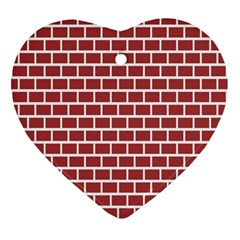 Brick Line Red White Heart Ornament (two Sides) by Mariart