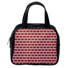 Brick Line Red White Classic Handbags (one Side) by Mariart
