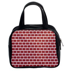 Brick Line Red White Classic Handbags (2 Sides) by Mariart