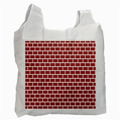 Brick Line Red White Recycle Bag (one Side) by Mariart