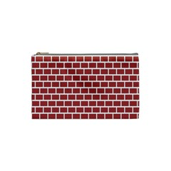 Brick Line Red White Cosmetic Bag (small)  by Mariart
