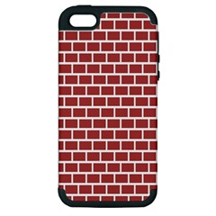 Brick Line Red White Apple Iphone 5 Hardshell Case (pc+silicone) by Mariart