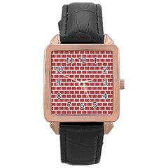 Brick Line Red White Rose Gold Leather Watch  by Mariart