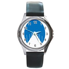 Bridge Sea Beack Blue White Round Metal Watch by Mariart
