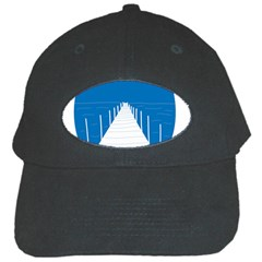 Bridge Sea Beack Blue White Black Cap by Mariart