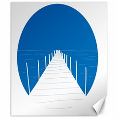 Bridge Sea Beack Blue White Canvas 8  X 10  by Mariart