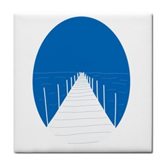 Bridge Sea Beack Blue White Face Towel by Mariart